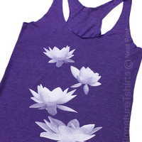 Yoga Tank Top, Womens Tank Top, Summer Tank, Lotus flowers tank top, fashion shirt, Birthday Gift, Wife Gift, Gift for sister, namaste top