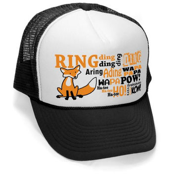 WHAT DOES THE FOX SAY - funny ring ding ylvis Mesh Trucker Cap Hat Cap, Black