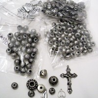 Tribal and religious gray plastic mixed beads | Crochetedlittlethings - Jewelry Supplies on ArtFire