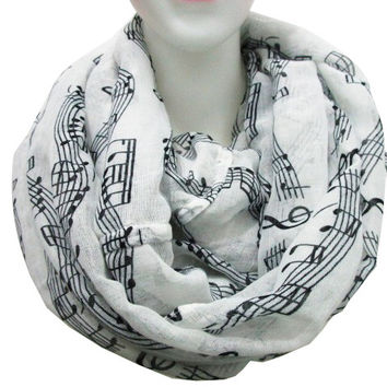 Free Shipping 2016 New Fashion White Burgundy Navy Music Note Sheet Music Piano Notes Script Print Scarves Infinity Scarf