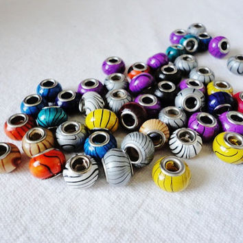 FREE - 20 Wooden European Beads, Large Hole Beads, with Metal Core, Rondelle, Mixed Colors European Style Charm Bracelet