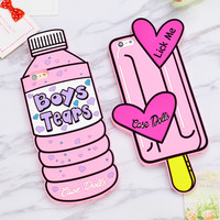 Sweet 3D Pink Love Bottle Ice Cream Phone Case Couples Soft Silicone Rubber Case for Iphone 6 6s 6Plus 5 5se 7 7plus Back Cover