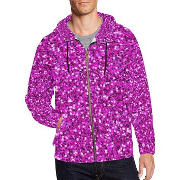 Pink Glitter Men's All Over Print Full Zip Hoodie