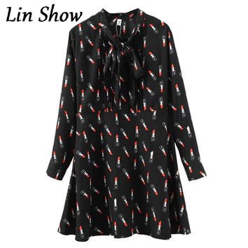 Hot 2016 Women Black Lipstick Printed Dress Casual Slim Long Sleeve Bowknot Spring Dresses Autumn Office Woman Clothes Dresses