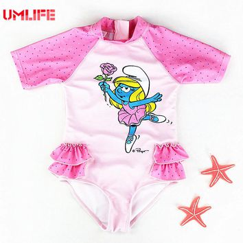 Cute Baby Swimsuit Girls Bathing Suits With Back Zipper 2017 Infant Baby Girl Dot Swimwear Toddler Kids Cartoon Pink Swimsuits