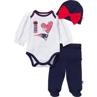 New England Patriots Bodysuit, Footed Pants & Cap Set - Baby Girl, Size: