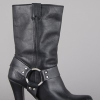 Harley Davidson Heeled Harness Leather Ankle Boots
