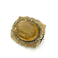 Victorian Topaz Glass Brooch, Finely Detailed Engraved Gold Plated Border, Oval Topaz Glass Center Stone, Late 19th Century, Gift for Her
