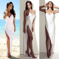 2016 Sexy Women Summer Deep V Neck Strappy Beachwear Unregular Open Fork Dress Sundress Evening  Party Side Slit Long Dress