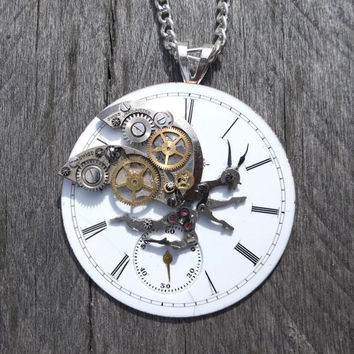 "an ""Increment Immured Imp"" - Necklace, Ceramic Illinois Pocket Watch Face with Gear, Hands, Parts Imp Sculpture on Silver Figaro Link Chain"