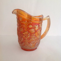 Vintage Imperial Carnival Glass Pitcher Robin Pattern Marigold Color
