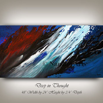 Huge Wall Art Abstract Painting, Strings Blue Artwork Original Painting on Canvas Red Art Unique gift for Office or Home Decor By Nandita