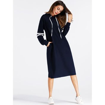 Varsity Striped Hoodie Dress Long Sleeve