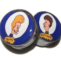 Beavis & Butthead Plugs  1 Pair  Sizes 2g 0g 00g by PlainJanePlugs