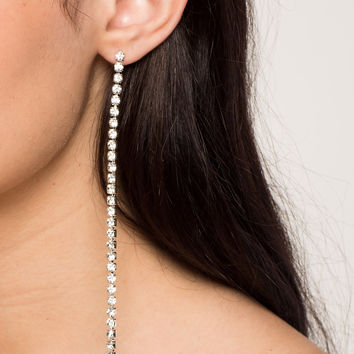 Adore Me Single Fringe Rhinestone Drop Earring