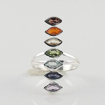 Multi Gemstone Sterling Silver Marquee Line Chakra Ring
