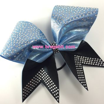 Loops and tails bow with rhinestomes