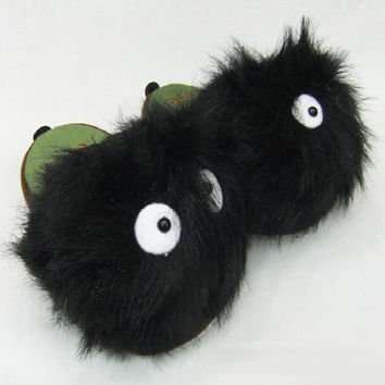 Totoro warm plush doll home cotton slippers women's bedroom slipper