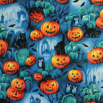 GRAVEYARD SCENE Halloween Black Bats Owls Cats Jack o lanterns spooky shadows fog Half Yard Fun Fabric for Creative Genius Projects