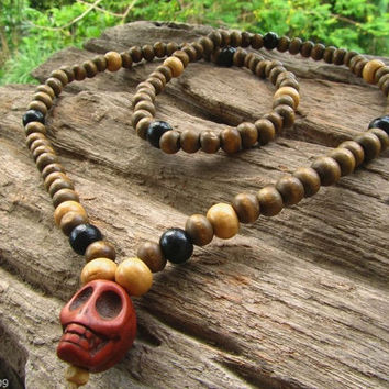 108 Beaded Mala Bead Long Necklace with Skull Head Bead / Hipster Surfer Hippie Boho Indie Steampunk Emo Festival Necklace / Men's Jewelry
