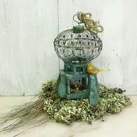 Vintage rusted cage Rhinestones bird egg nest decor small wire bird cage centerpiece shabby chic decor
