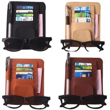Car Accessories New Universal Multifunctional Bill Holder Stowing Bag organizer car Styling Car Visor Glasses Clip