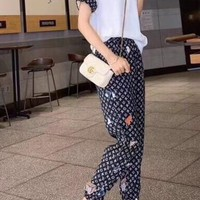 """""""LOUIS VUITTON"""" Woman's Leisure  Fashion Letter Personality Embroidery Printing Spell Color Short Sleeve Trousers Three-Piece Set Casual Wear"""