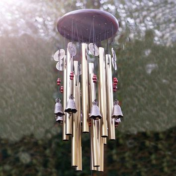 Amno222 Antique 4 Tubes Wood Chapel Church Bells Wind Chimes Yard Decor Topsea (Color: Gold)