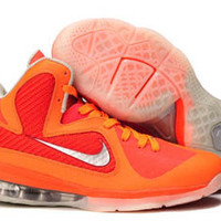 nike air max lebron ix 9 orange and silver mens basketball sneakers