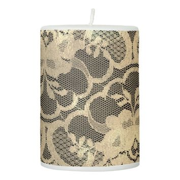 Lace Faux Gold Black Sepia Floral Girly Glam Lux1 Pillar Candle