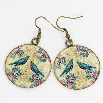 Be my Valentine Fashion Handmade Cute Lovely Blue Birds Round Earrings Gift for Women Unique Exlusive Vintage Photo Print Epoxy jewelry