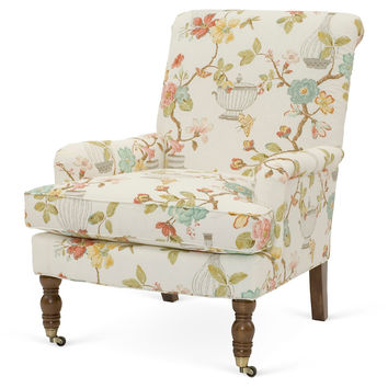 Abigail Floral Accent Chair, Cream/Rose, Club Chairs