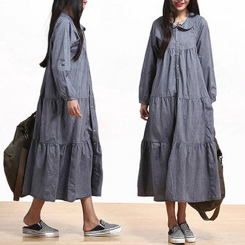 8635a7a63b7 deboy2000 on Etsy  68.99. Casual Loose Fitting Long Sleeved Cotton and  Linen Long Dress Blouse- Gray - Women Maxi