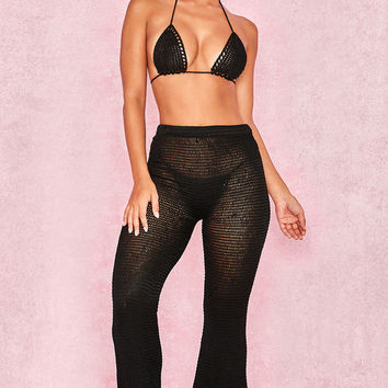 Clothing : Swimwear : 'Selia' Black Double Crochet Wide Leg Trousers