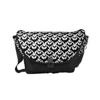 Black And White Bats Goth Halloween Pattern Small Messenger Bag