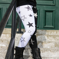 Cotton Blend Black and White Star Leggings