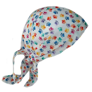 Multi Color Puppy Paws Scrub Cap