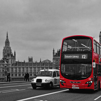 Black and White London with Red Bus Art Print by Alice Gosling
