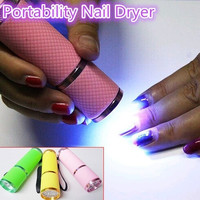 Mini UV Gel Curing Lamp Portability Nail Dryer LED Flashlight Currency Detector 9 LED Aluminum Alloy AAA Battery = 5658855233