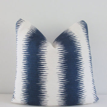 Navy Ikat Pillow Cover 18x18, 20x20 Square Throw Pillow, Accent Pillow, Toss Pillow