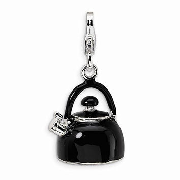 Sterling Silver 3-d Enameled Black Tea Kettle W/lobster Clasp Charm