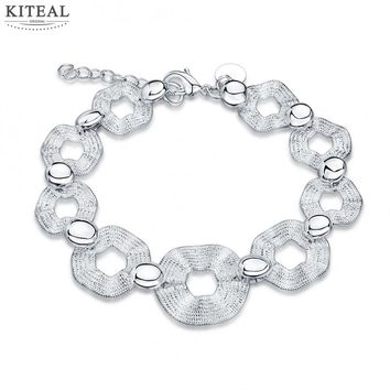 2017 New Fashion silver plated Charms bracelet 9 circle Unique friendship bracelets jewelry accessories for women party