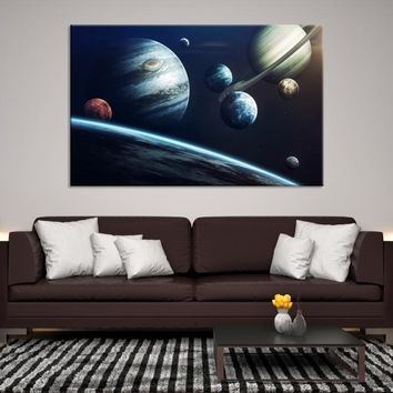 24106 - Planet Earth Moon Wall Art, Space Wall Art, Earth n Moon Art, Planet Earth Canvas, Space Canvas Art, Earth Moon and Stars, Moon Poster, Galaxy Art