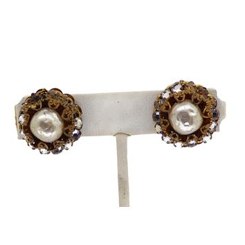 Miriam Haskell Glass Pearl and Rhinestone Clip Earrings
