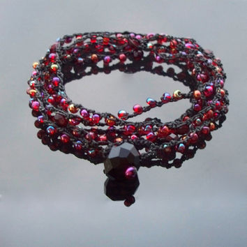 Red crochet multi wrap bracelet, layering necklace, glass bead jewellery, hippie beach jewellery,