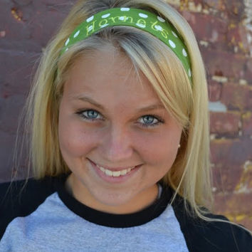 SALE Green White and Yellow Hornets Headband  - Only one Left - Ready to ship