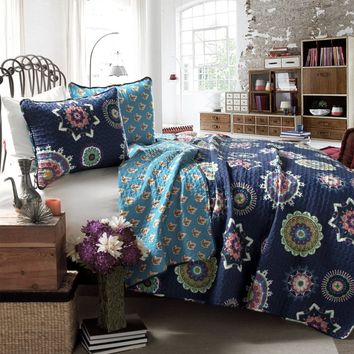 The Penelope Boho Bohemian Moroccan 3 PC Blue Bed Quilt SET