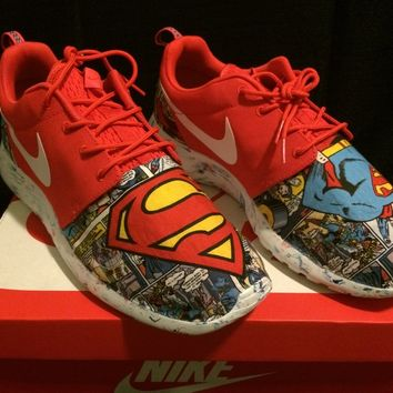 Custom Roshe Run Red Marble Superman