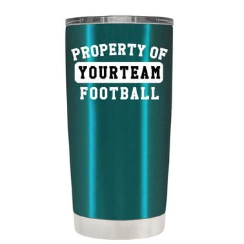 TREK Property of Football Personalized on Teal 20 oz Tumbler Cup