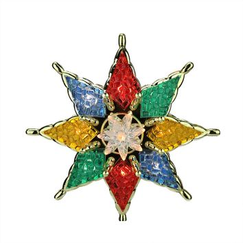 """7.75"""" Lighted Multi-Color Mosaic Star Christmas Tree Topper - Clear Lights"""